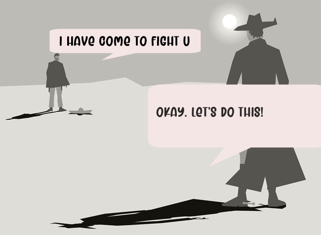 a cartoon image with two opposing figures, appearing to begin a duel. Two text bubbles on the image note that the two characters are about to fight. The image ushers the next section dedicated to character conflicts and dynamics of the Arc of a Scythe trilogy