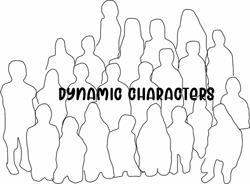 """an image with an outline of a group of people,  a headline on it with """"dynamic characters"""" to signal the next section in the blog post"""